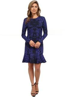 Nicole Miller Tidal Tiger Long Sleeve Flippy Dress