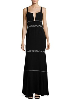 Nicole Miller Tiered Embroidery Accented Gown