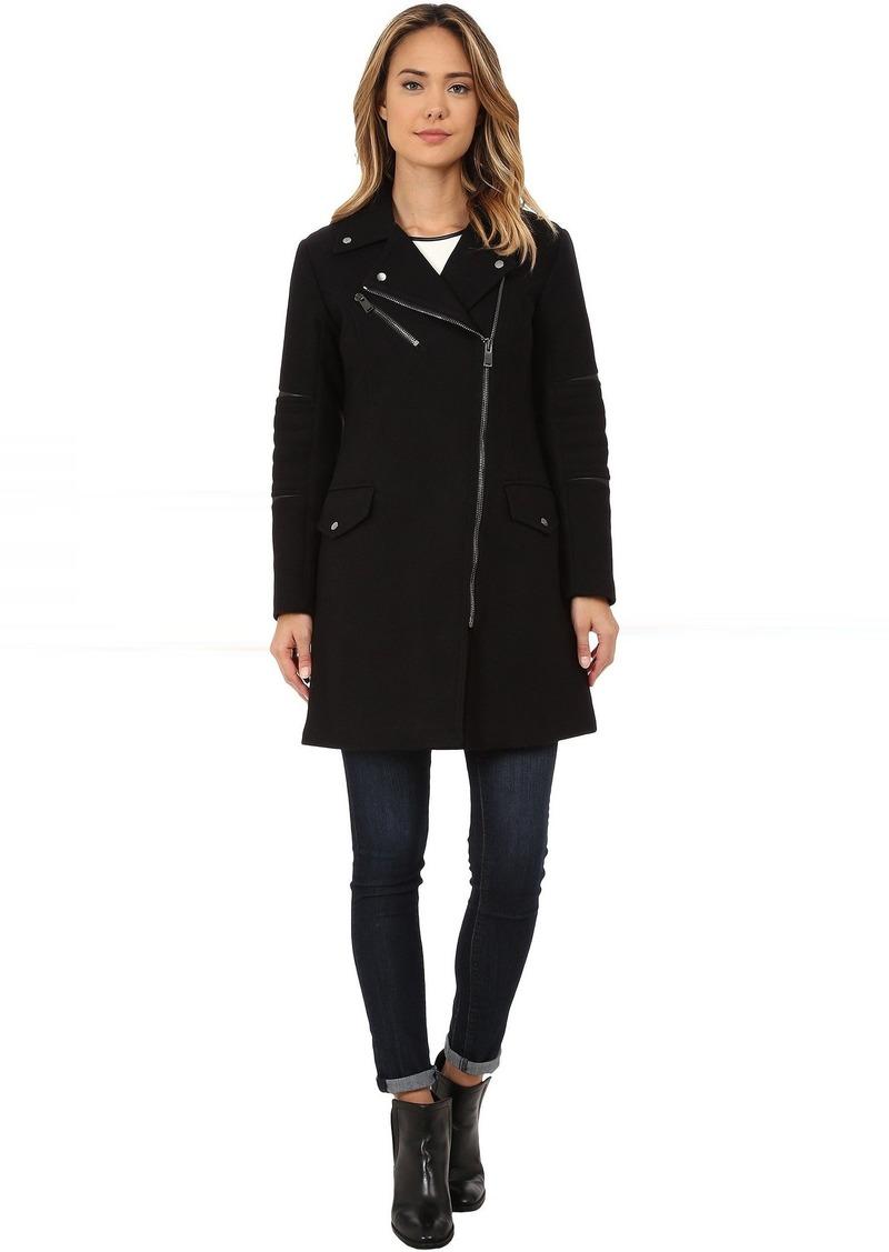 Nicole Miller Walker Asymmetrical Zip Front Wool Coat with Shouler Detailing