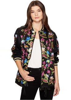 Nicole Miller Whimsical Jungle Leather Embroidered Bomber
