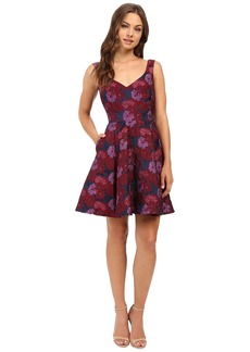 Nicole Miller Wildflowers Jacquard Fit and Flare Dress