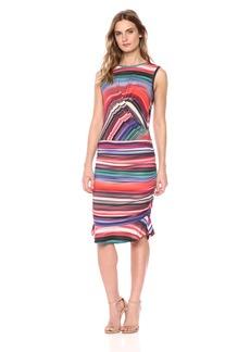 Nicole Miller Women's Abalone Stripe Flare Dress  L