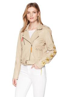 Nicole Miller Women's Amazon Embroidery Nailhead Moto Jacket  S
