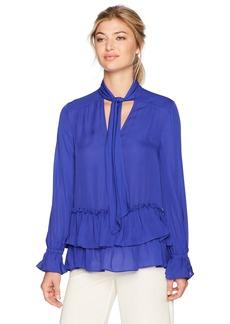 Nicole Miller Women's Annabell Ruffle Sleeve Tie Silk Blouse  S