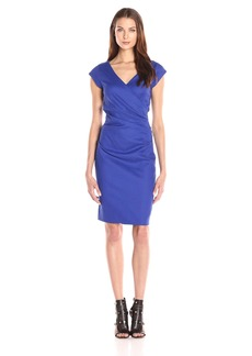 Nicole Miller Women's Beckett Stretch Linen-Blend Tuck Dress Blue/Royal