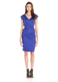 Nicole Miller Women's Beckett Stretch Linen-Blend Tuck Dress