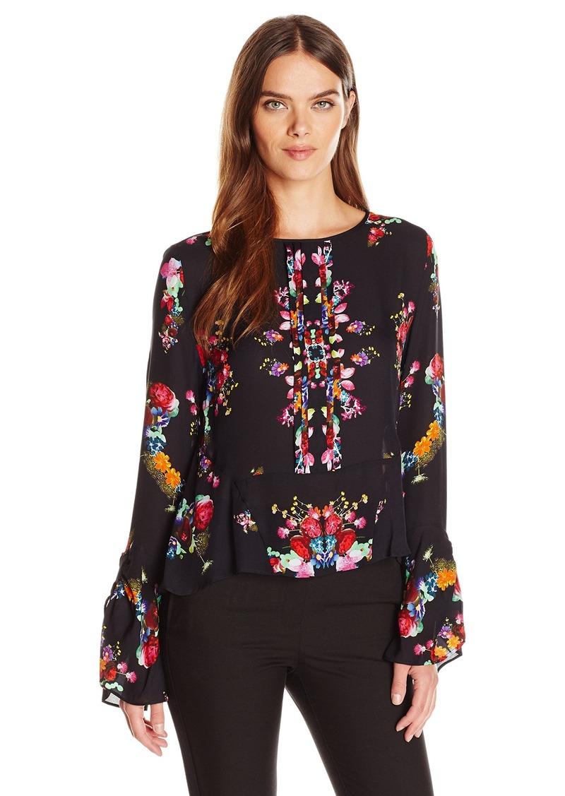 Nicole Miller Women's Bohemian Fleur Silk Full Sleeve Blouse