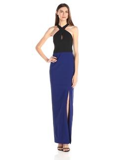 Nicole Miller Women's Cece Techy Crepe Halter Gown