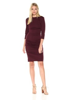 "Nicole Miller Women's ""christina"" Ponte Dress BURGUNDY (BU) S"