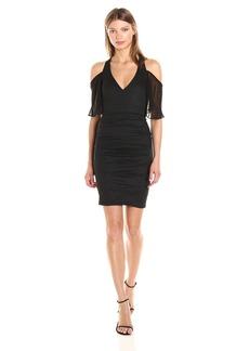 Nicole Miller Women's Cold Shoulder Cotton Metal Dress