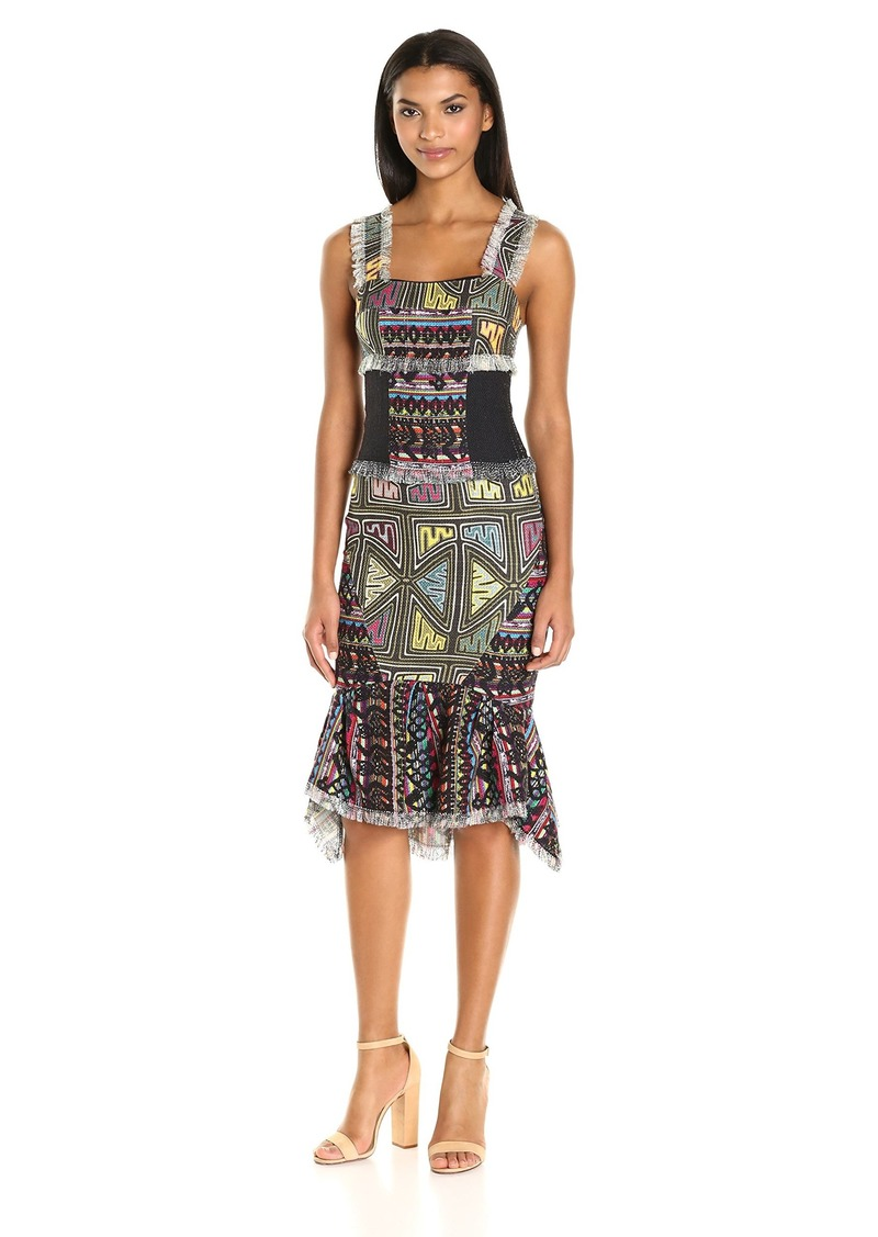 Nicole Miller Women's Combo Printed Tweeds Peplum Hem Dress Multi