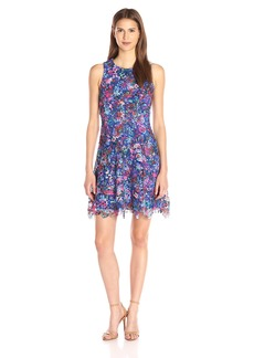 Nicole Miller Women's Confetti Flower Venice-Lace Fit-And-Flare Dress
