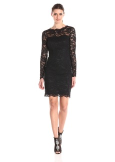 Nicole Miller Women's Corded Floral Lace Long Sleeve Dress