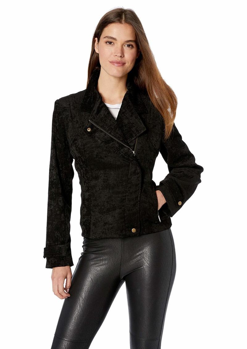 Nicole Miller Women's Corduroy Tucked Moto Jacket  M