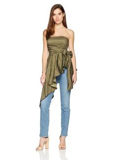 Nicole Miller Women's Cotton Metal Asymmetrical Top  S