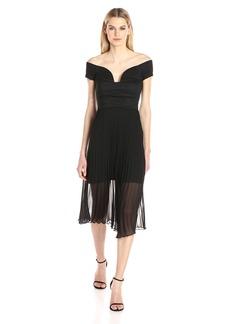 Nicole Miller Women's Cotton Metal Off the Shoulder Dress