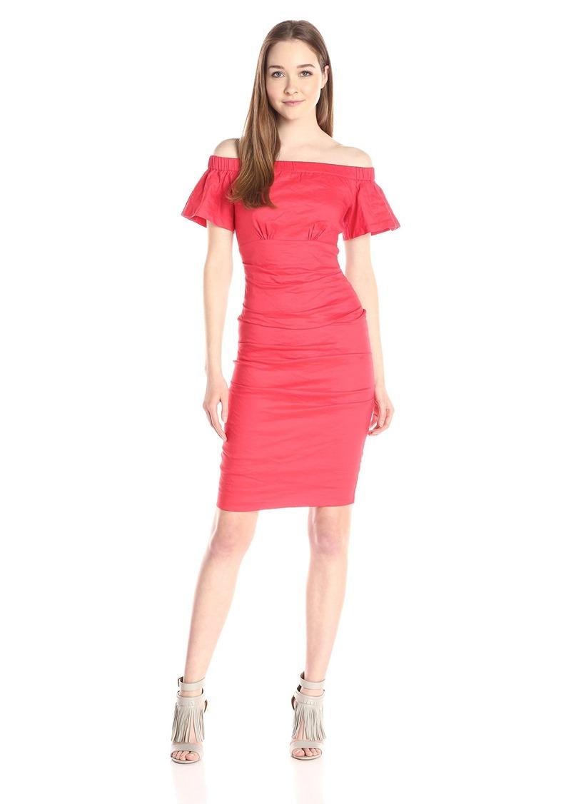 Nicole Miller Women's Cotton Off-the-Shoulder Tuck Dress