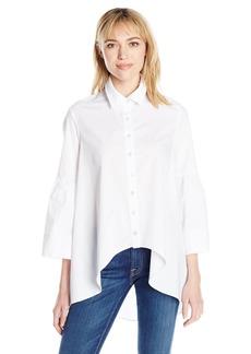 Nicole Miller Women's Cotton Poplin Hi-lo Button Down Shirt White