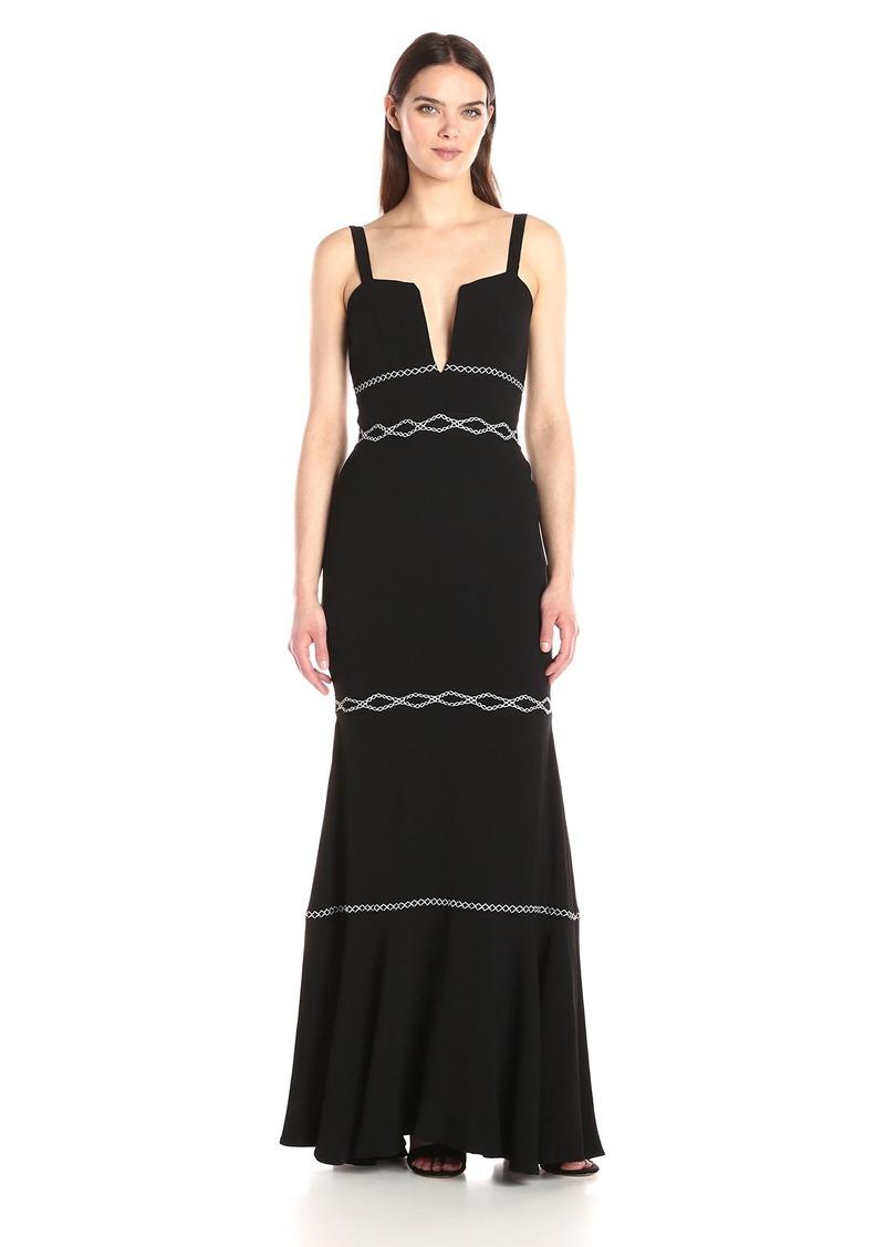 Nicole Miller Women's Crinkle Satin Back Crepe V Wire Dress Black