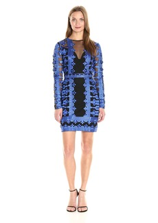 Nicole Miller Women's Crown Embroidery on Mesh Illusion Dress