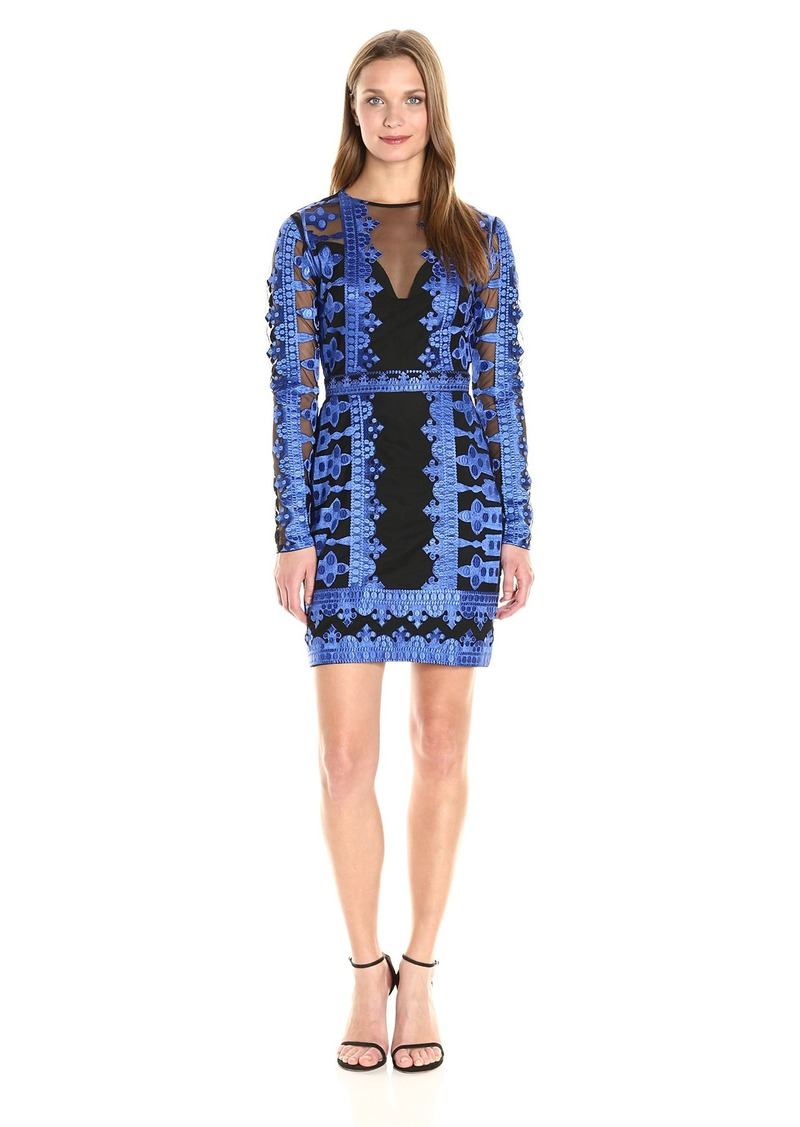 099e1fec Nicole Miller Women's Crown Embroidery On Mesh Illusion Dress  Black/Cobalt/BBT