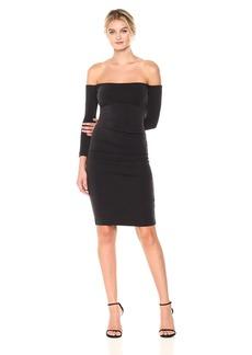 Nicole Miller Women's Cupro Off The Shldr L/s Dress Black S