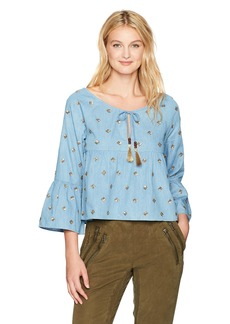Nicole Miller Women's Embellished Soft Chambray Top Blue L