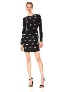 Nicole Miller Women's Evil Eye Embellished Silk Dress Black