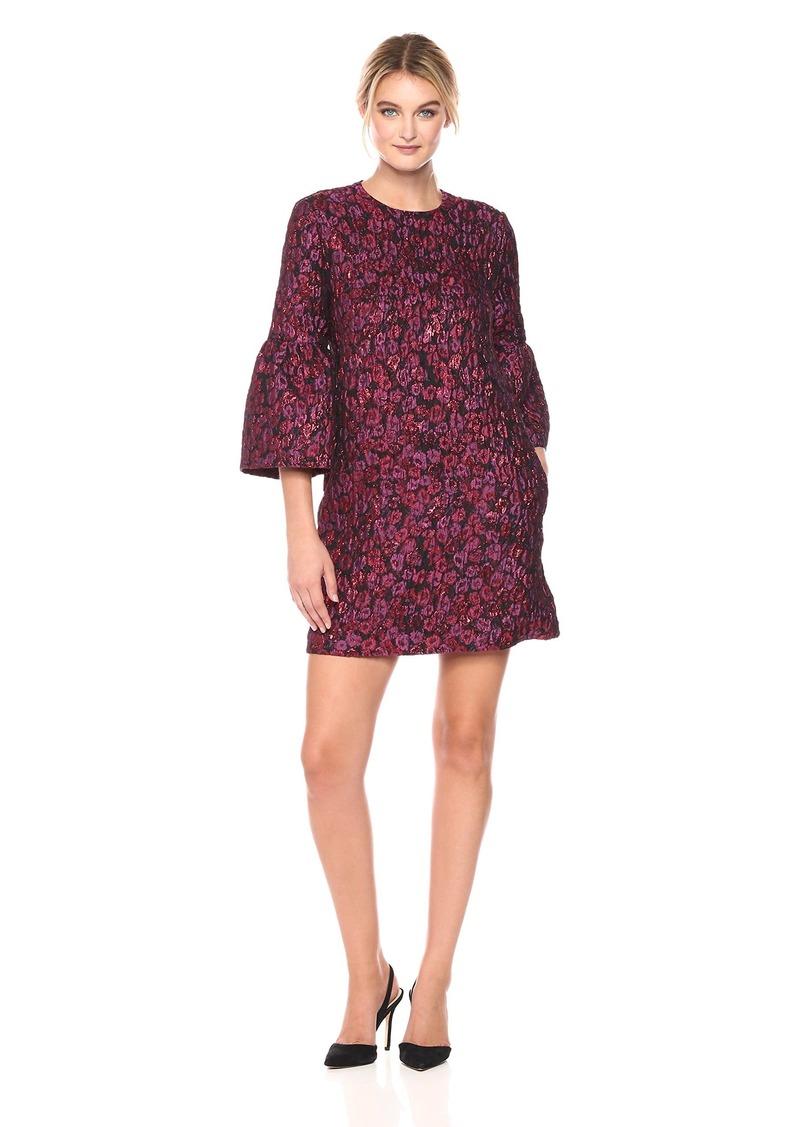 Nicole Miller Women's Falling Roses Jacquard L/s Dress Multi P