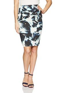 Nicole Miller Women's Fan Burst Print Cotton Metal Skirt