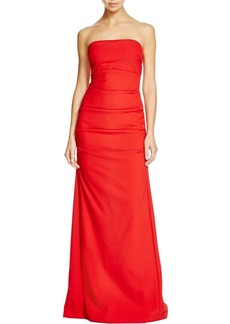 Nicole Miller Women's Felicity Techy Crepe Strapless Gown red