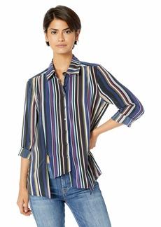 Nicole Miller Women's Flight Stripe Asymmetrical Boyfriend Shirt  L