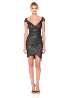 Nicole Miller Women's Flitter Knit Off Shoulder Stefanie Dress Black/Silver (BSL)