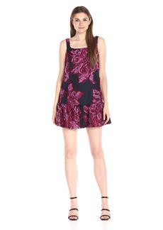 Nicole Miller Women's Flocked-Flowers Jacquard Ruffle Dress