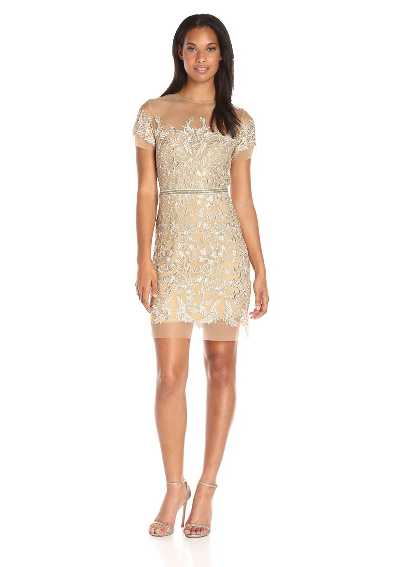 Nicole Miller Women's Floral Embroidered Tulle Short Sleeve Dress