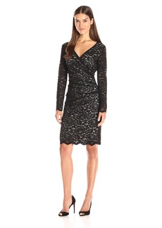 Nicole Miller Women's Floral Stitch Lace V Neck Tuck Dress