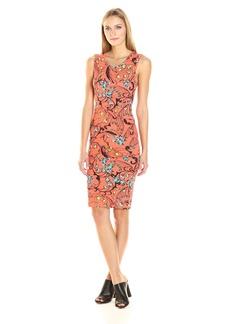 Nicole Miller Women's Floral Swirl B Jersey Tuck Dress  P