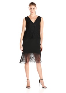 Nicole Miller Women's Fringe and Lace Shift Dress