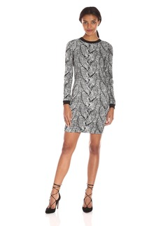 Nicole Miller Women's Giant Cable Knit Double Crepe Dress
