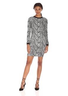 Nicole Miller Women's Giant Cable Knit Double Crepe Dress