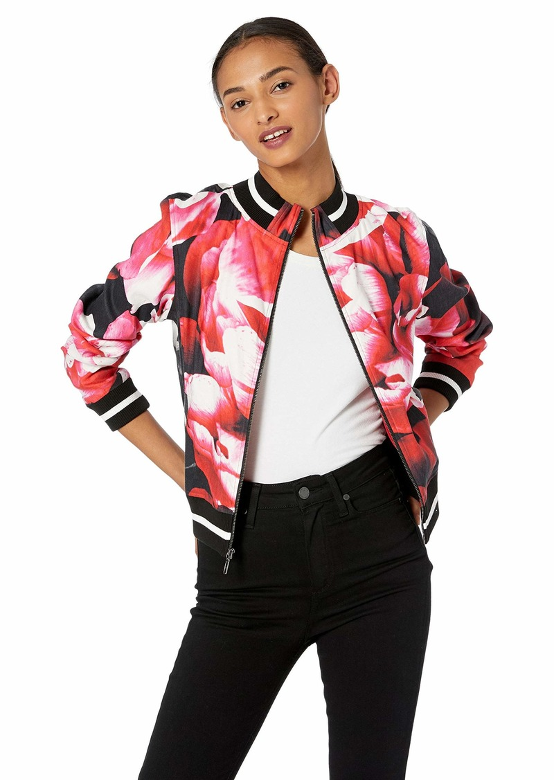 Nicole Miller Women's Giant Garden Bomber Jacket