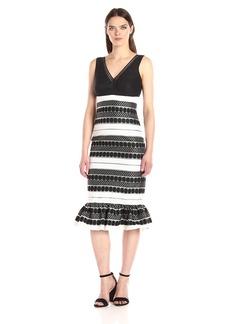 Nicole Miller Women's Gloomy Replay V Neck Ruffle Dress