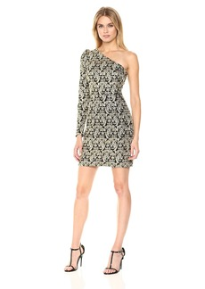 Nicole Miller Women's Gold Sequin Paisley One Shldr Dress Black (BGO)