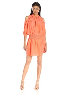 Nicole Miller Women's Habotai Smocked-Shirt Dress