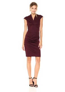 Nicole Miller Women's Hadley Ponte Dress Burgundy (BU) S