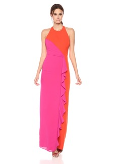 Nicole Miller Women's Heavy Techy Crepe X Back Ruffle Gown Orange/Very Berry
