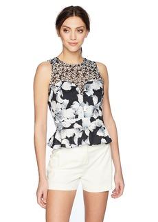 Nicole Miller Women's Hibiscus Canopy Peplum Top  S