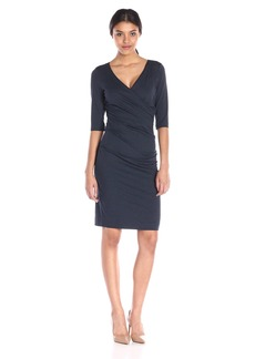 Nicole Miller Women's Jersey 3/4 Sleeve Tuck Dress  Large