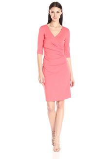 Nicole Miller Women's Jersey 3/4 Sleeve Tuck Dress