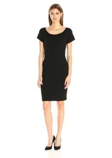 Nicole Miller Women's Karina Ponte Boat Neck dress black/black
